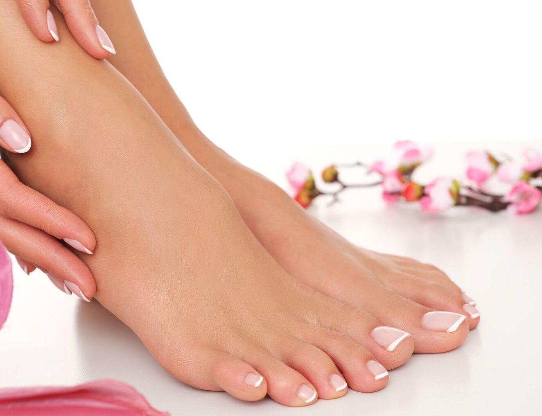 pedicure with natural nail polish